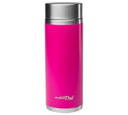 Th�i�re nomade isotherme double paroi inox en acier magenta 300 ml - MobiliTh� by Qwetch