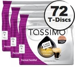 Dosette Tassimo Carte Noire Caf� Long Classic - 24 T-Discs - Lot de 3 (soit 72 T-Discs)