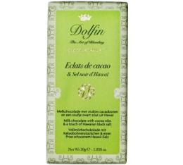 Chocolat au lait aux éclats de cacao & sel noir d'Hawaï - 30g - Dolfin
