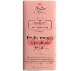 Chocolat noir (60% cacao) aux fruits rouges et graines de lin - 70g - Dolfin