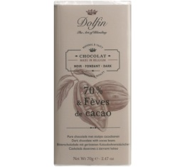 Chocolat noir 70% aux éclats de fèves de cacao - 70g - Dolfin