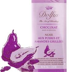 Chocolat Noir 60% Poires et Amandes grill�es - 70g- Dolfin