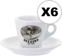 6 x tasses expresso + sous tasses Bezzera since 1901