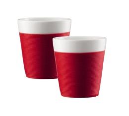2 tasses Bistro en porcelaine avec bande silicone rouge 17cl - Bodum