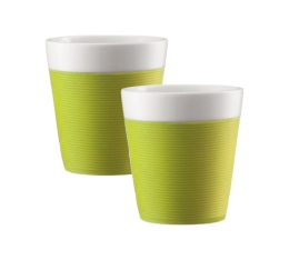 2 tasses Bistro en porcelaine avec bande silicone verte 17cl - Bodum