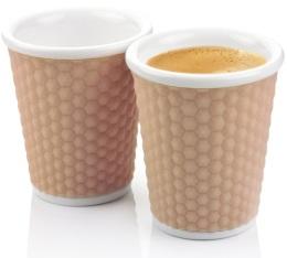 2 tasses en porcelaine avec bandeau silicone muscade nids d'abeille 18cl - Les Artistes Paris