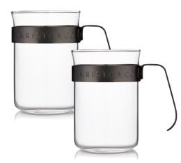 Tasses poign�e gunmetal Barista & Co - 22cl x2