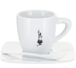 Tasse � caf� en porcelaine en blanche Bialetti + sous-tasse + cuill�re
