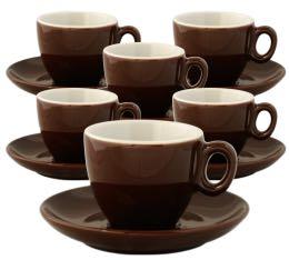 6 Tasses et sous-tasses en porcelaine Inker marrons de 7 cl pour espresso