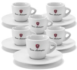 Tonino Lamborghini - 6 Tasses Espresso blanches avec sous tasses