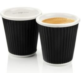 2 tasses en porcelaine avec bandeau en silicone noir ondul� 10cl - Les Artistes Paris
