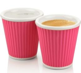2 tasses en porcelaine avec bandeau en silicone rose ondul� 10cl - Les Artistes Paris
