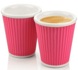 2 tasses en porcelaine avec bandeau en silicone rose ondul� 18cl - Les Artistes Paris