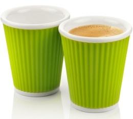 2 tasses en porcelaine avec bandeau en silicone vert ondul� 18cl - Les Artistes Paris