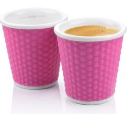 2 tasses en porcelaine avec bandeau silicone rose nids d'abeille 10cl - Les Artistes Paris