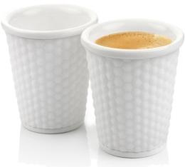 2 tasses en porcelaine avec bandeau silicone blanc nids d'abeille 18cl - Les Artistes Paris