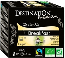 Th� noir bio Breakfast Destination x20 sachets