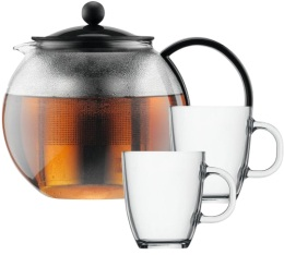Coffret th�i�re � piston Bodum Assam 1 L  + 2 mugs en verre