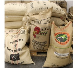 V�ritable sac de caf� original en toile de jute (vide)