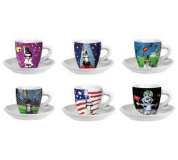 6 tasses espresso + sous tasses 9cl Event - Bialetti