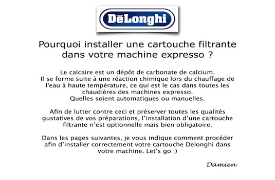installer une cartouche filtrante dans votre machine expresso delonghi. Black Bedroom Furniture Sets. Home Design Ideas