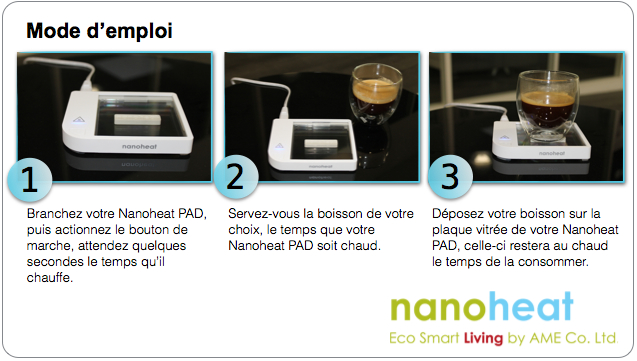 mode d'emploi chauffe tasse Nanoheat