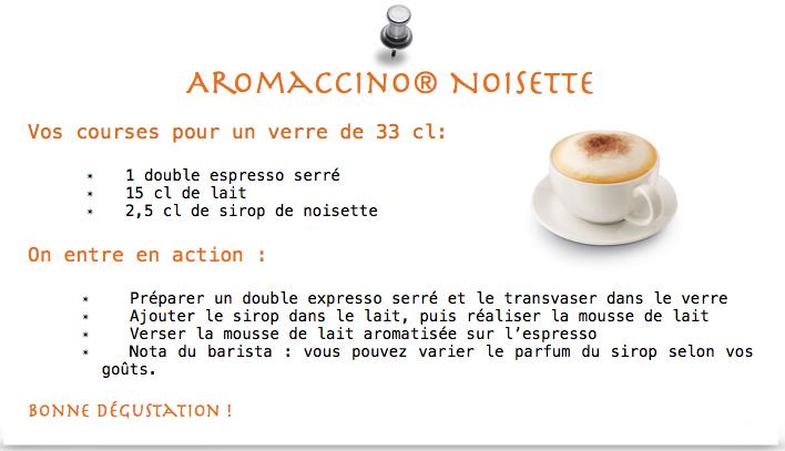 recette aromaccino noisette