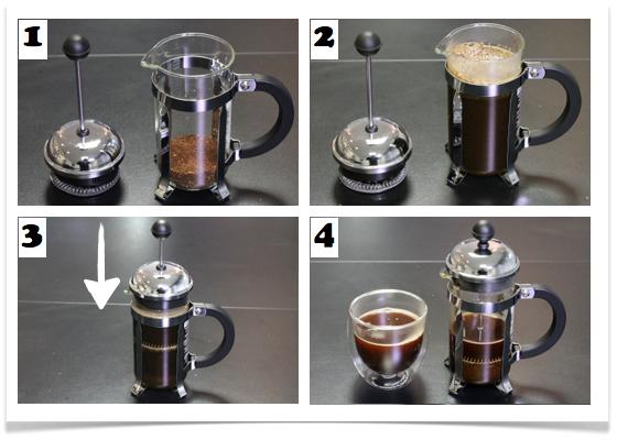 préparation d'une cafetière à piston