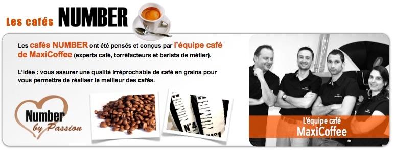 Gamme de Caf� en grains Number, con�u par notre �quipe caf�.