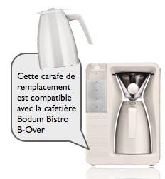 carafe de remplacement blanc creme pour cafetière bodum bistro b-over