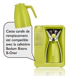 carafe de remplacement verte pour cafetière bodum bistro b-over