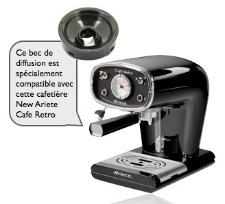 bec de diffusion pour dosettes ESE machine New Ariete Cafe Retro
