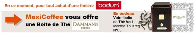 Votre boite de thé Dammann pour tout achats d'une théière Bodum