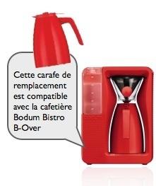 carafe de remplacement rouge pour cafetière bodum bistro b-over