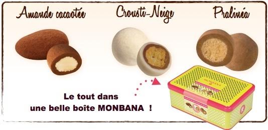 Assortiment de 50 confiseries Amande Cacaotée / Pralinéa / Crousti-Neige - Monbana