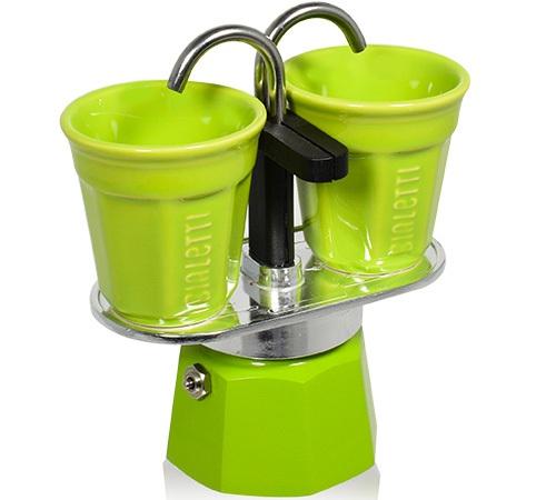 cafeti re italienne bialetti mini express vert tasses. Black Bedroom Furniture Sets. Home Design Ideas