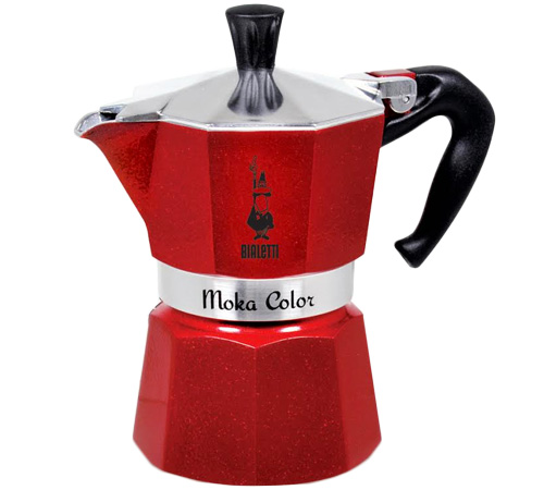 Cafeti re italienne bialetti moka express rouge paillet e 3 tasses - Comment fonctionne cafetiere italienne ...