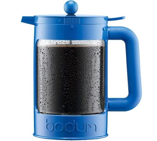 cafeti re piston bodum bean color bleue pour caf glac 150cl. Black Bedroom Furniture Sets. Home Design Ideas
