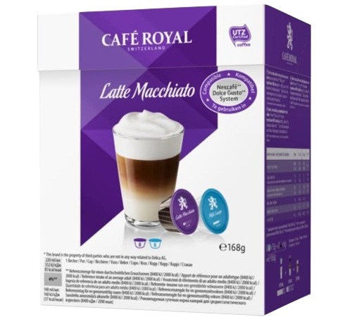 caf royal 16 capsules dolce gusto compatibles latte macchiato. Black Bedroom Furniture Sets. Home Design Ideas
