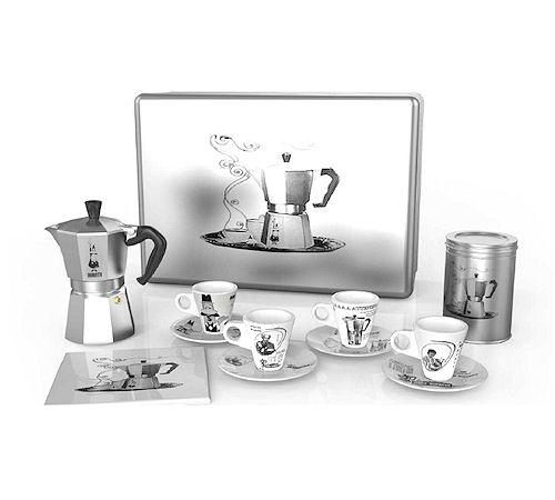 cafetière italienne, moka express, tasses, sous tasses, bialetti, coffret, cadeau, di natale