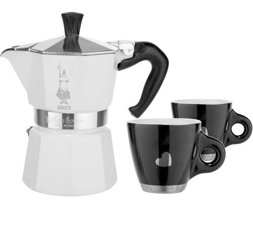 cafeti re italienne bialetti moka chic blanche 2 tasses noires coeur. Black Bedroom Furniture Sets. Home Design Ideas