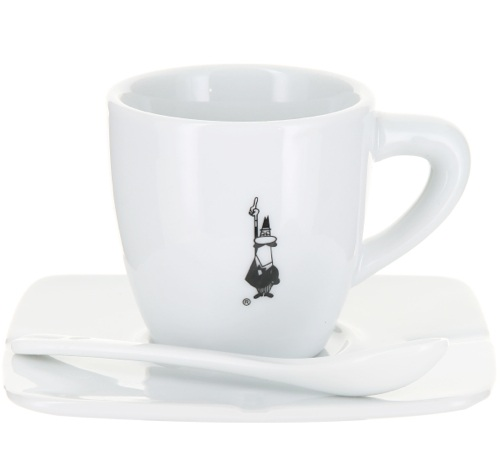 tasse caf en porcelaine en blanche bialetti sous tasse cuill re. Black Bedroom Furniture Sets. Home Design Ideas