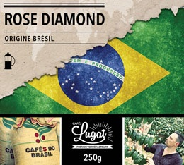 Caf� moulu pour cafeti�re � piston : Br�sil - Rose Diamond - 250g - Caf�s Lugat