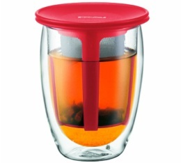 Tea for one verre avec infuseur rouge 35 cl - Bodum