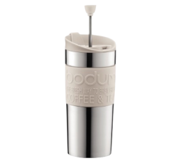 Travel Press piston Bodum blanc cr�me et inox double paroi - 35 cl