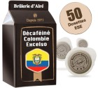 Dosettes ESE D�cafein� Colombie Excelso x 50 - Br�lerie d'Alr�