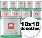 Dosettes caf� Illy espresso d�caf�in� 10x18 dosettes ESE