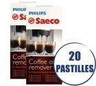 Lot de 2 tablettes Dégraissantes Saeco CA6704/99 pour machines expresso - 2 x 10 pastilles