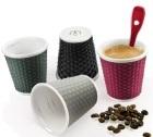 4 tasses en porcelaine avec bandeau silicone colorés nids d'abeille 10cl - Les Artistes Paris