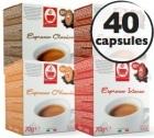 Pack découverte - 40 capsules compatibles Lavazza a Modo Mio® (Classico, Corposo, Intenso, o'Vesuvio)